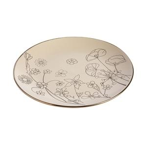 Assiette plate en céramique motif floral gris Ø 27 x H 2,8 cm 699924