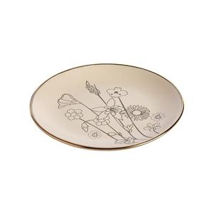 Assiette à dessert en céramique motif floral gris Ø 19,5 x H 2,2 cm 699926