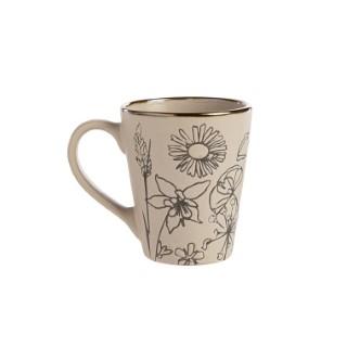 Mug en céramique motif floral gris 8,7x6x10,5 cm 699927