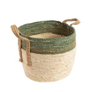 Panier en feuille de maïs bicolore vert beige Taille 3 Ø 37 x H 27 cm 699937