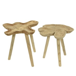 Table d'appoint en bois de teck à trépied H 50 x Ø 50 cm 699938