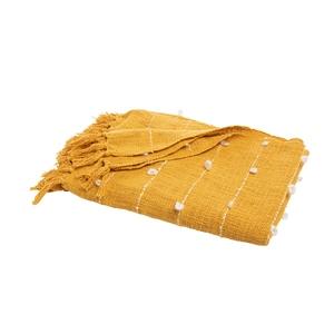 Plaid en coton rayé frangé curcuma ou beige 170 x 130 cm 699941