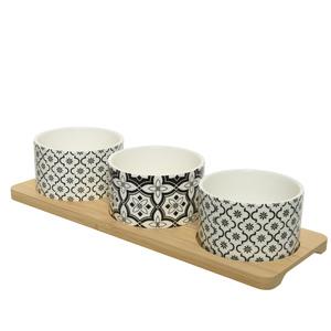 Set à tapas de 3 coupelles sur support en bois 28,5x9,7x6,2 cm 699953
