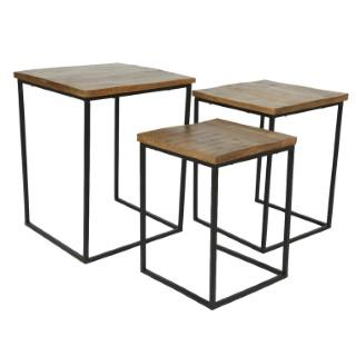 Table en bois de manguier et métal noir grand modèle 699960