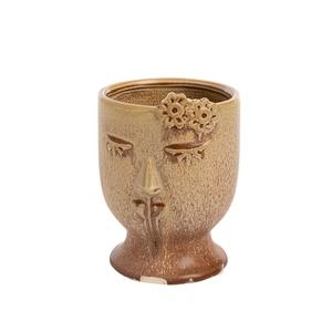 Cache-pot en céramique forme visage coloris rose doux moyen modèle 699965