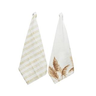 Torchons en coton blanc x2 à motifs roseaux ou rayures 70x50 cm 699977