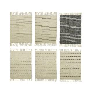 Tapis en coton frangé beige et noir 90x60 cm 699987