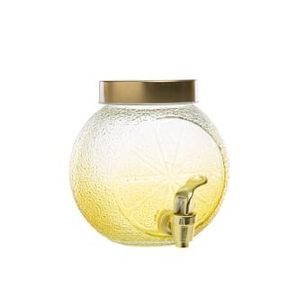 Distributeur de boisson en verre motif citron 15,5x15,2x16 cm 699990