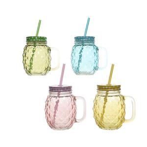 Chope en verre avec paille coloris assortis Ø 12 x H 13 cm 699992