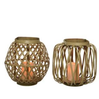 Lanterne en bambou avec bougie sur pile H 29 x Ø 28 cm 699998