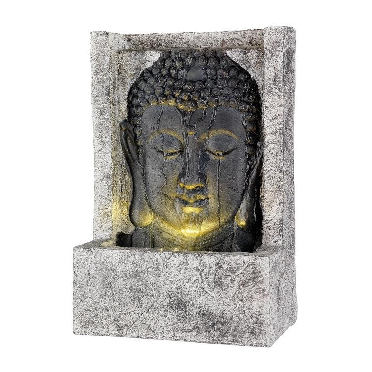 Fontaine LED bouddha en polyrésine coloris gris 13 x 28 x 40 cm 600280