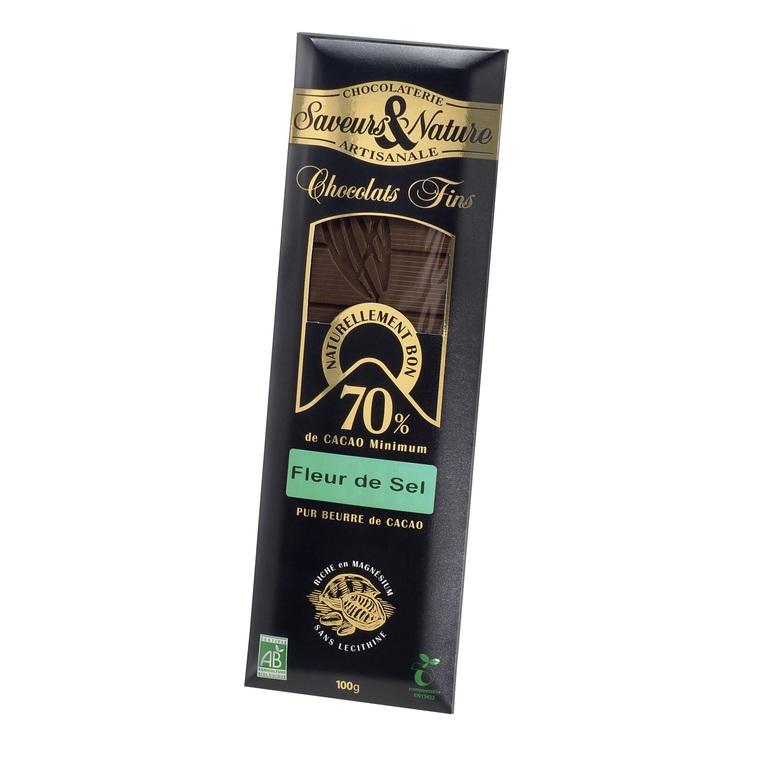 Tablette de chocolat noir à la fleur de sel 100 g 60623