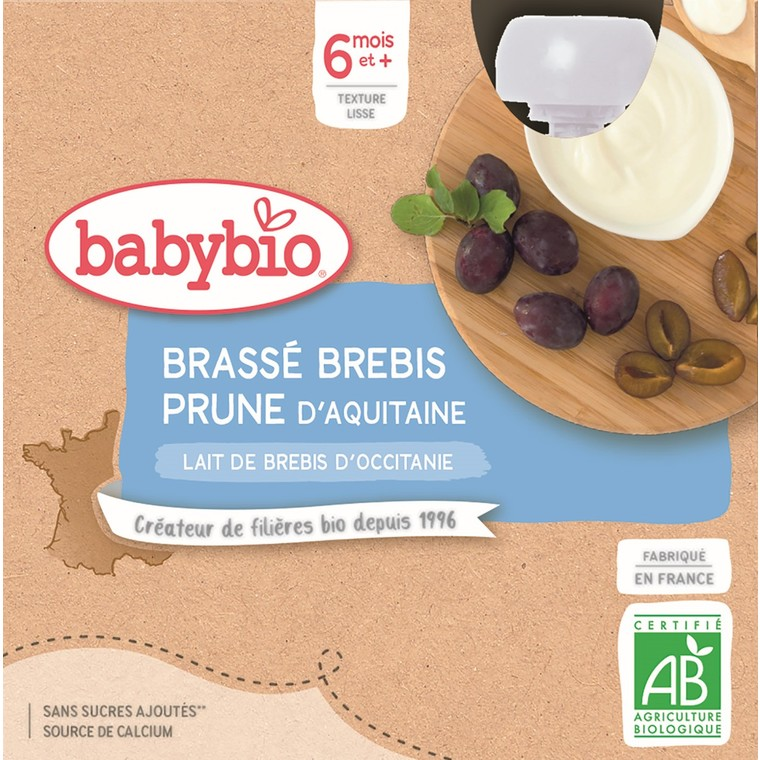 Gourdes Brassé Brebis prune d'Aquitaine dès 6 mois - 4x85 gr 611713