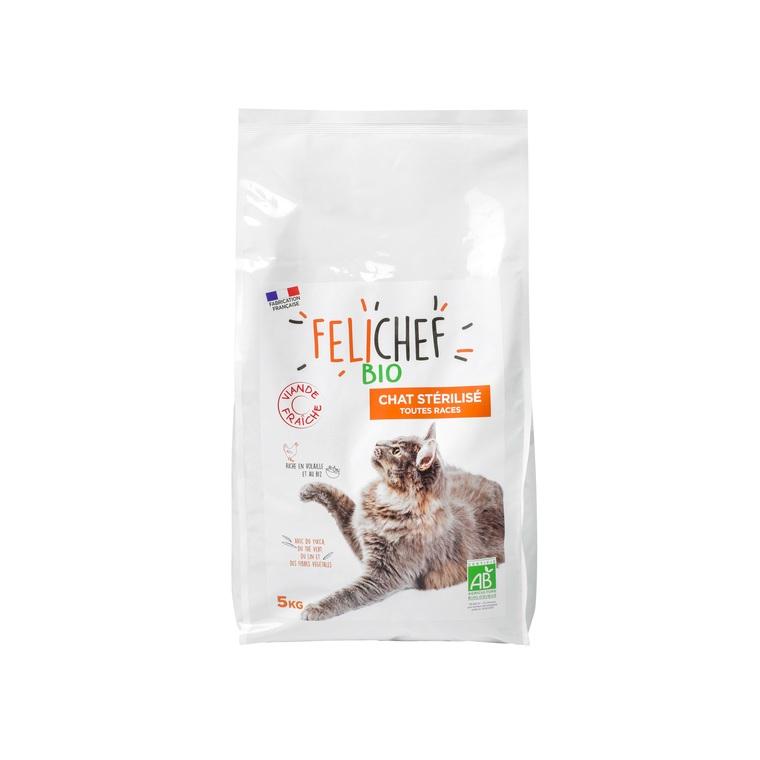 Croquettes pour chat stérilisé bio en sac de 5 kg 612424