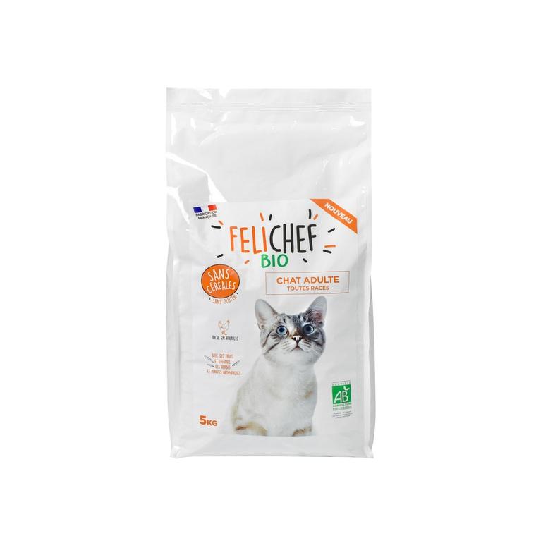 Croquettes pour chat adulte bio sans céréales en sac de 5 kg 612440
