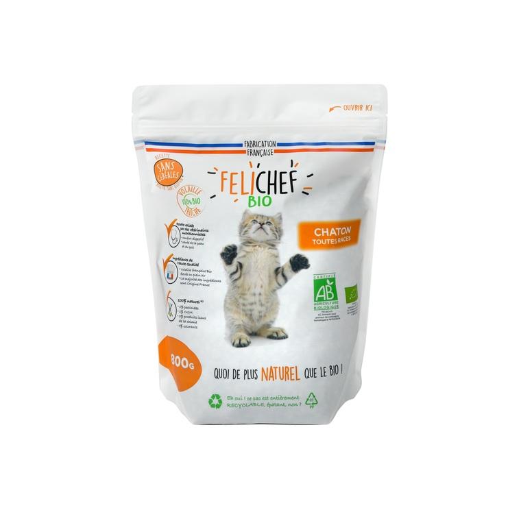 Croquettes pour chaton bio sans céréales en sac de 800 g 612443