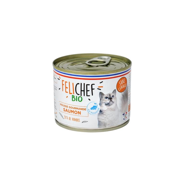 Mousse au saumon bio sans céréales pour chat adulte en boîte de 200 g 612450