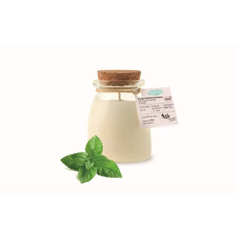Bougie pot de yaourt menthe Ø6,5xH8,1 cm 615359