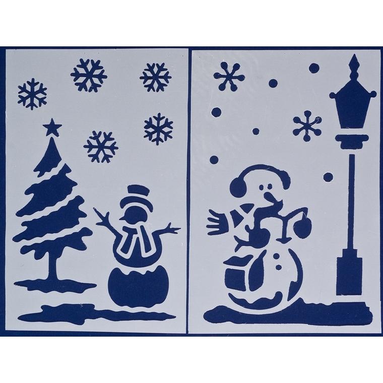 Duo de pochoirs aux motifs sapin, flocon et bonhomme de neige 616684