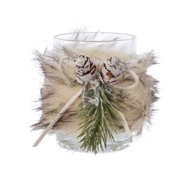 Photophore en verre décoré de fourrure coloris assortis H 8 x Ø 6 cm 616729