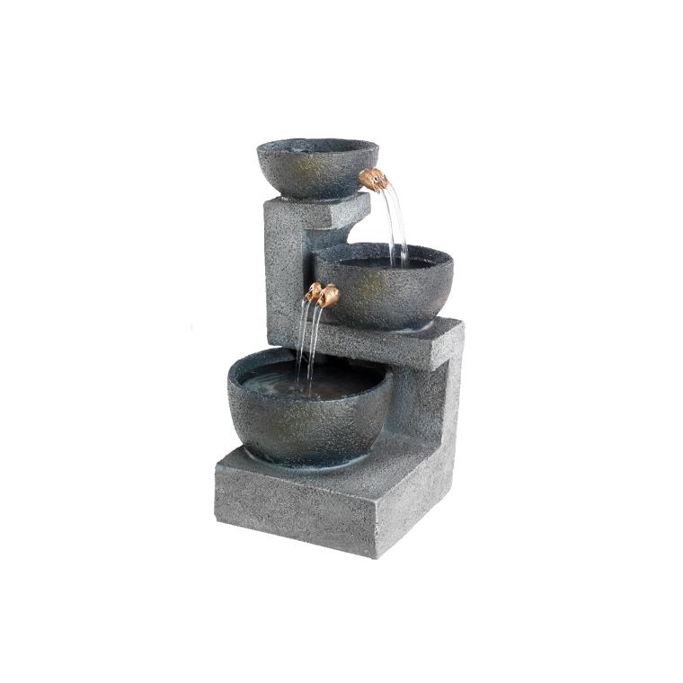Fontaine à 3 bols gris en polyrésine 12 x 22 cm 617080