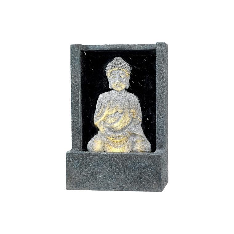 Fontaine LED avec bouddha assis gris 14 x 26 x 39 cm 617087