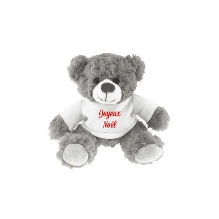 Peluche ours gris avec tee-shirt blanc Joyeux Noël 15 cm 617308