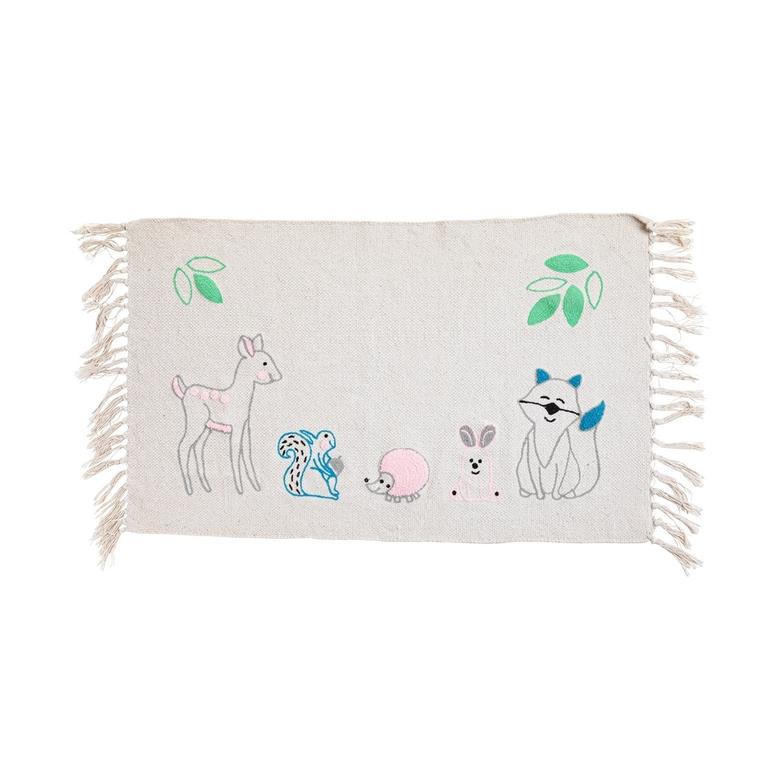 Tapis blanc en coton brodé d'animaux de la forêt 60 x 90cm 617461