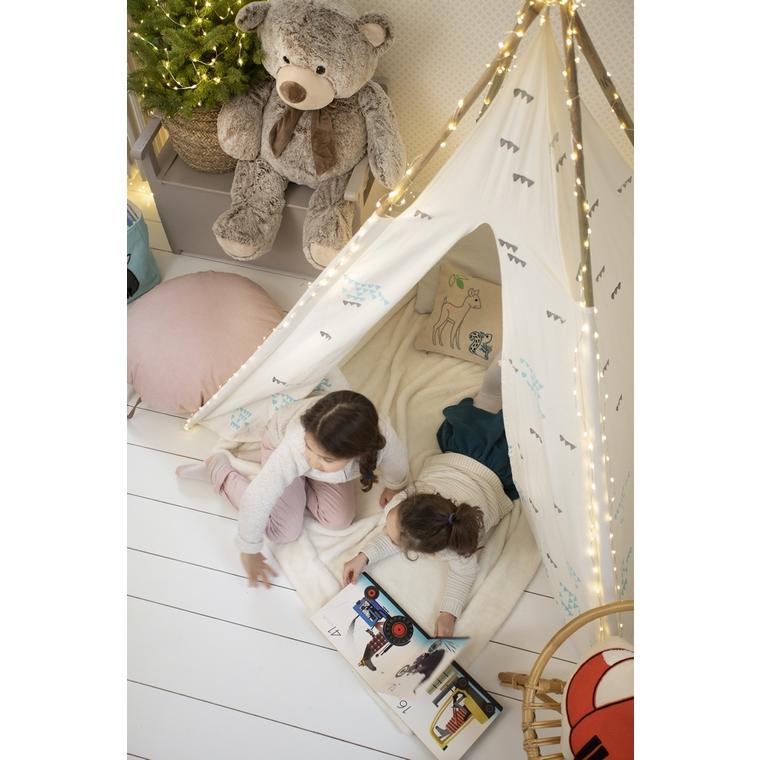 Tipi enfant en bois et toile coton blanc 51x51 cm 617462