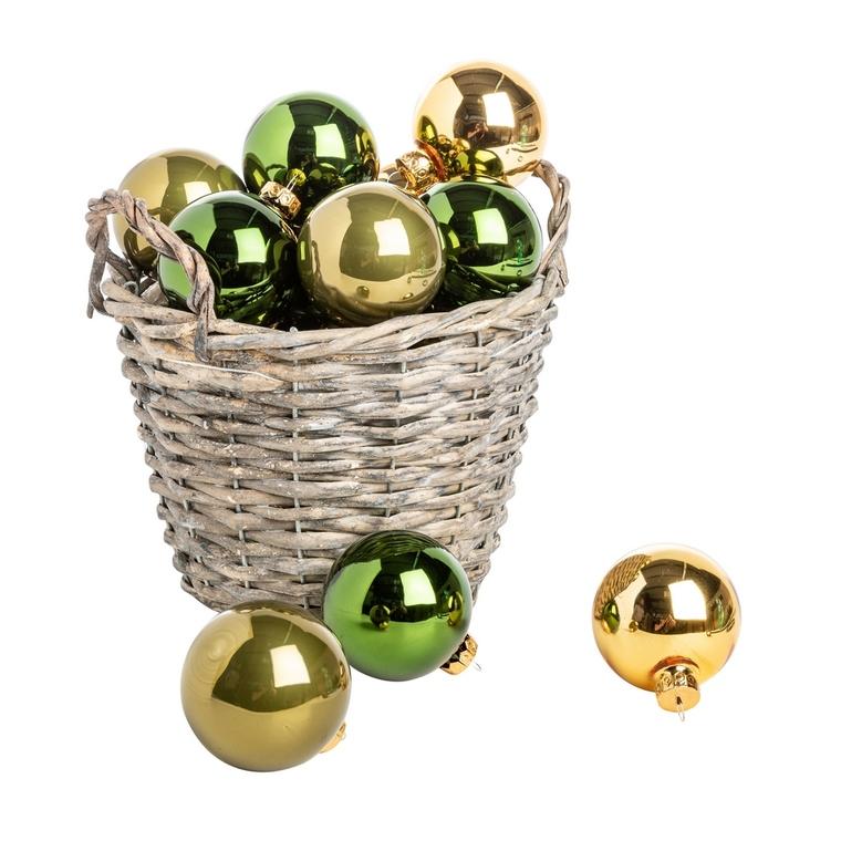Boîte de 20 boules de Noël en verre Ø 6 cm assortiment vert 617737