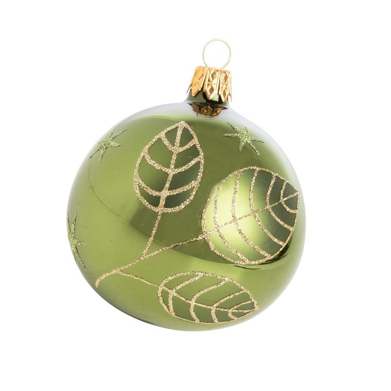 Boule de Noël en verre motif feuille vert pin Ø 8 cm 617742