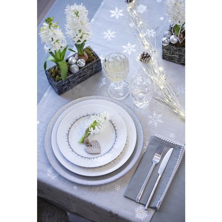 Serviette de table en coton gris bordée de broderie blanche 45x45 cm 618064