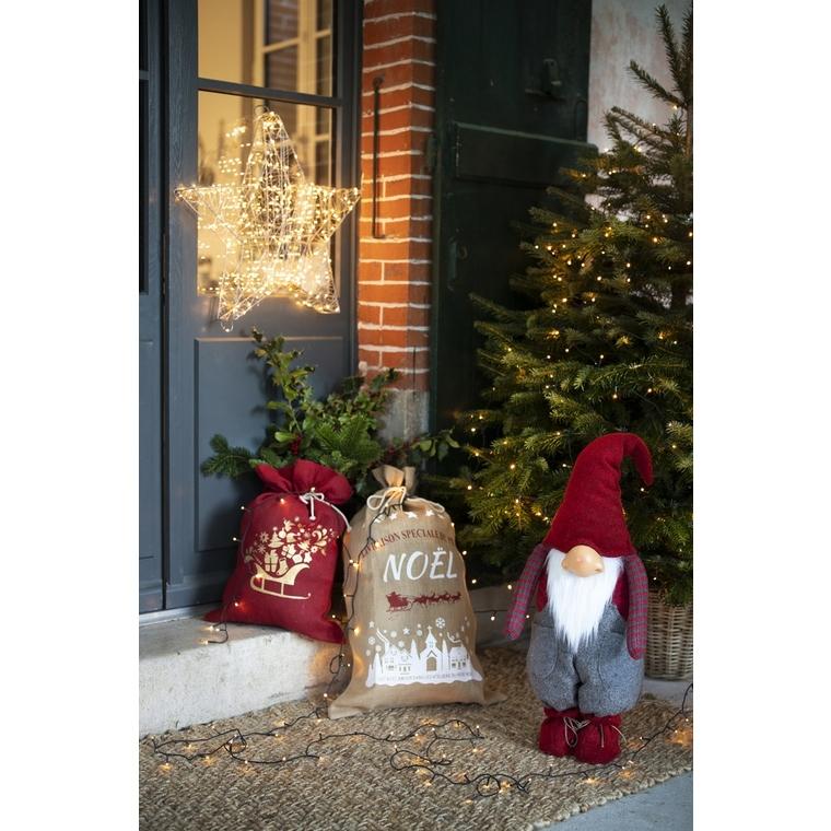 Sac en jute naturel avec motif village de Noël blanc 50 x 80 cm 622595