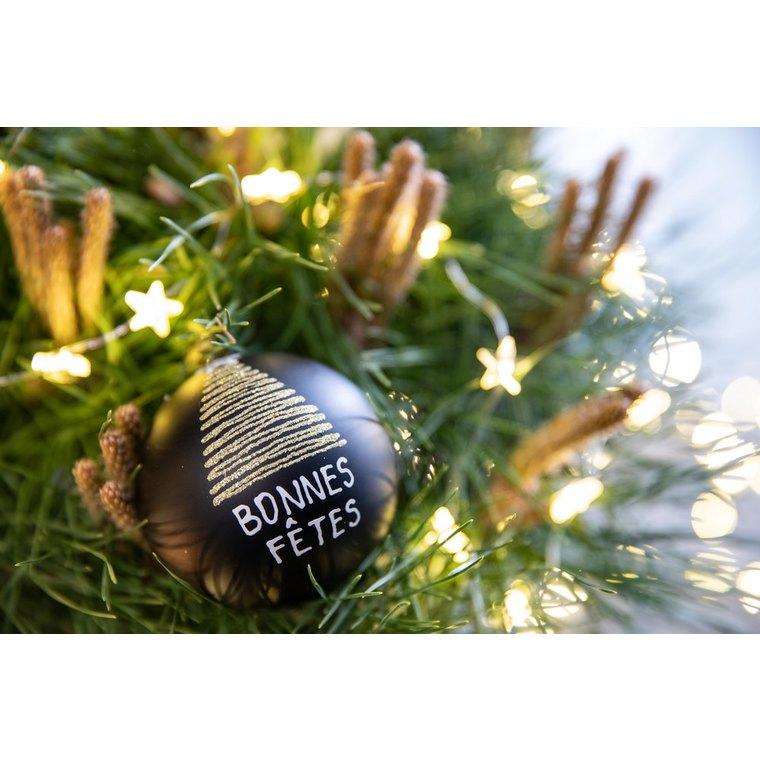Boule de Noël graphique en verre noir mat motif sapin or Ø 7 cm 622929