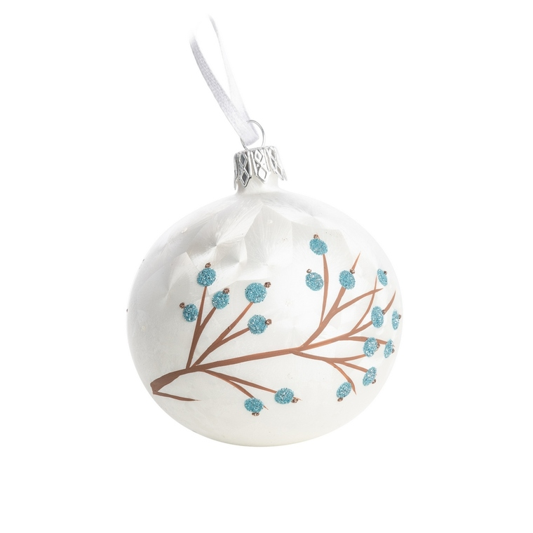 Boule de Noël en verre blanc motif baies vertes Ø 7 cm 622963