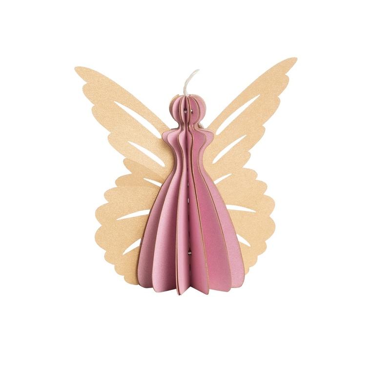 Ange à poser en papier rose et or petit modèle 13 cm 623062
