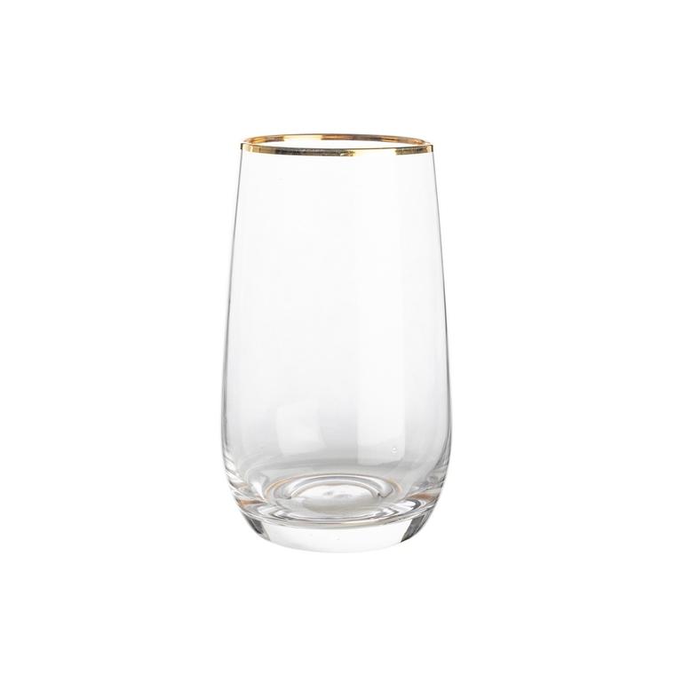 Verre à eau en verre transparent à col doré H 12,5 x Ø 7,5 cm 623886