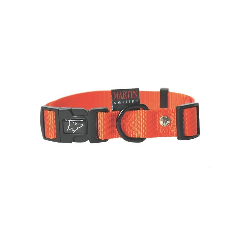 Collier chien réglable 25mm / 45-65cm orange