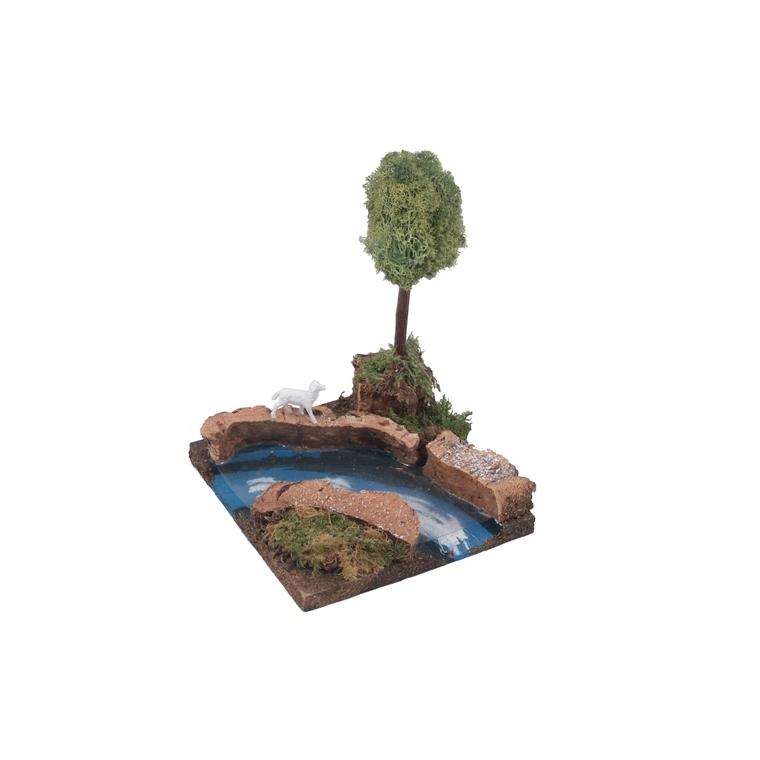 Courbe de fleuve avec arbre – 14 cm 627465