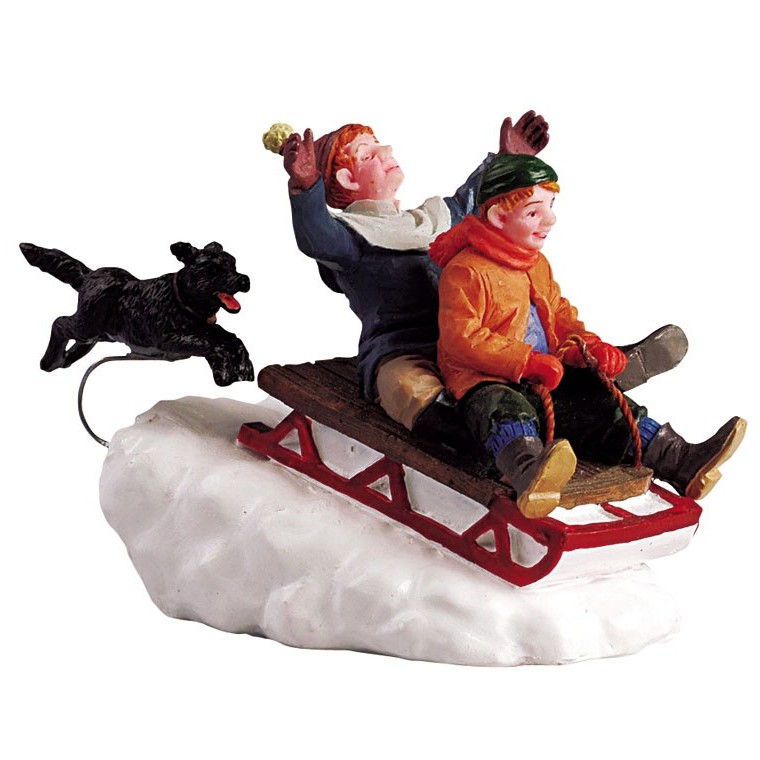 Figurine Lemax Enfants sur luge avec chien collection Caddington Village 627562