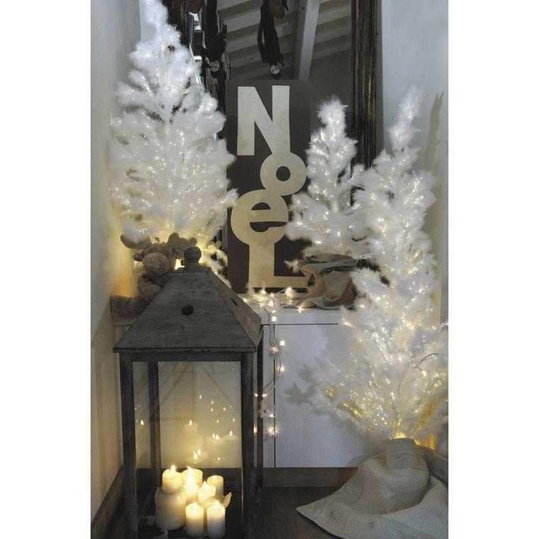 Sapin de Noël artificiel à plumes blanches lumineux 120 cm 62828