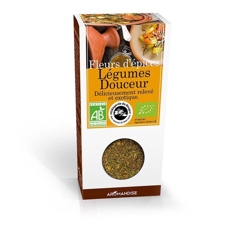 Fleurs d'épices pour légumes douceur bio en boite marron de 35 g