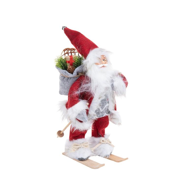 Père Noël à ski rouge, blanc et gris 30 cm 634989