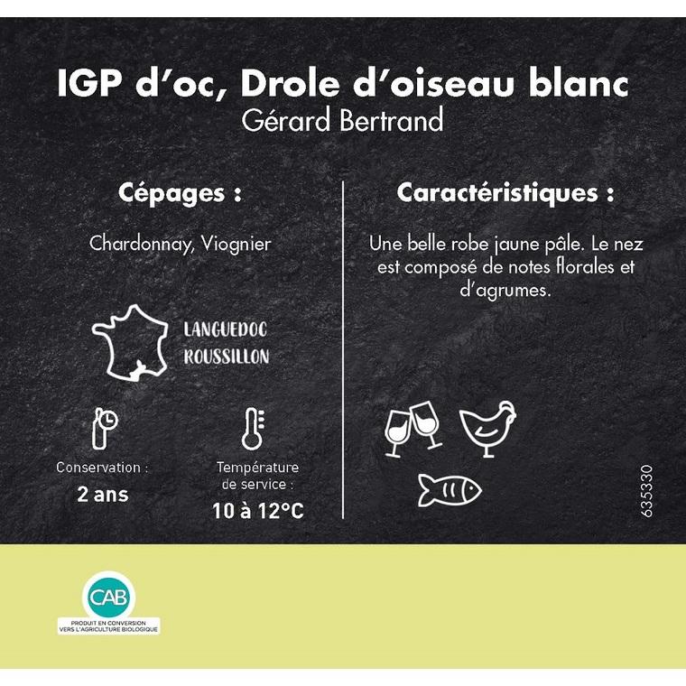 Vin blanc en conversion Drôle d'oiseau IGP d'oc. La bouteille de 75 cl 635330