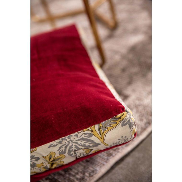 Coussin de sol carré Cobble en velours rouge et bande à motif 50x50 cm 635359