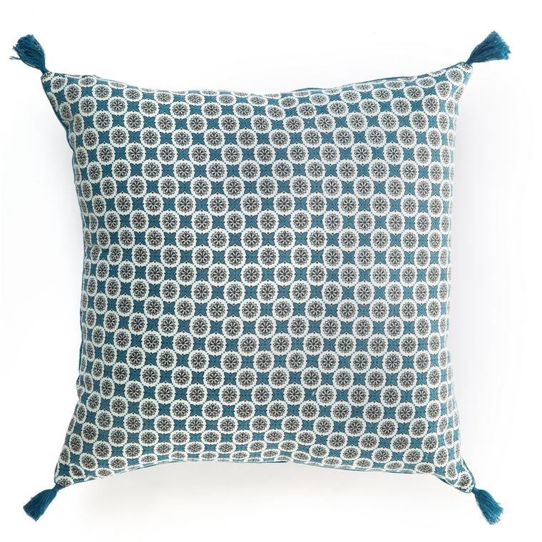 Coussin de sol carré milow en velours bleu 50 x 50 cm 635375