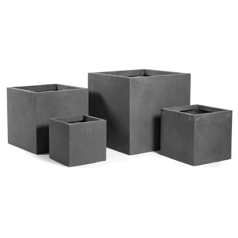 Pot carré GENEVE 28x28xH.28 Gris 63670