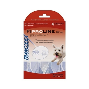 Pipettes antiparasitaires chien Fipromedic 2-10kg x4