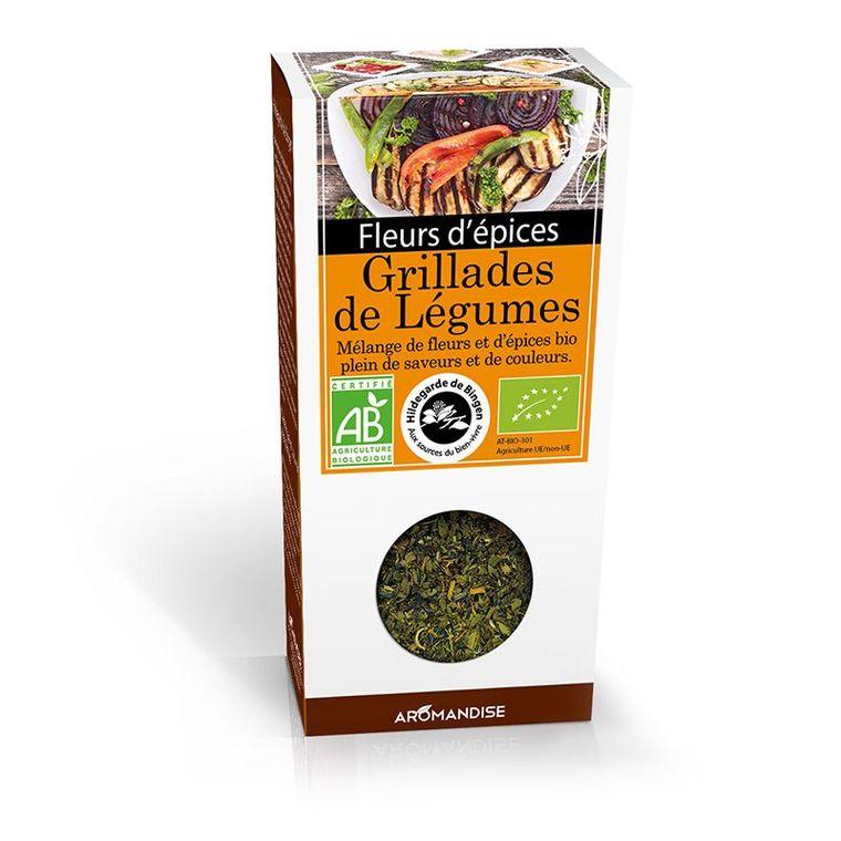 Fleurs d'épices pour grillades de légumes bio en boite marron de 40 g