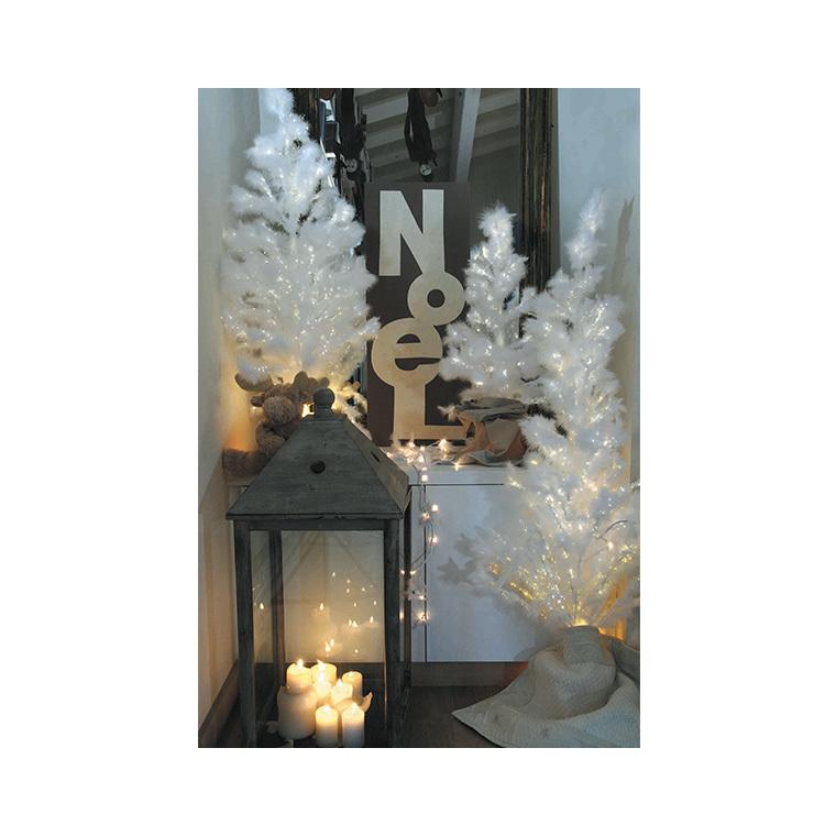 Sapin de Noël artificiel blanc lumineux 120 cm 638459